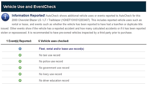 AutoCheck Free Report - Vehicle Use Check