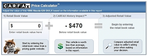 Carfax Free Report - Price Calculator